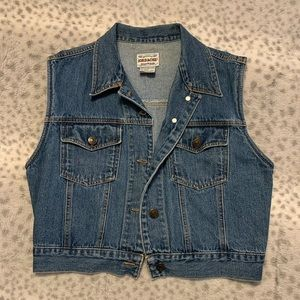 Vintage sleeveless blue jean vest.